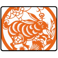 Chinese Zodiac Horoscope Rabbit Star Orange Fleece Blanket (Medium)