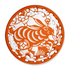 Chinese Zodiac Horoscope Rabbit Star Orange Round Filigree Ornament (Two Sides)