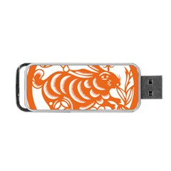 Chinese Zodiac Horoscope Rabbit Star Orange Portable USB Flash (One Side)