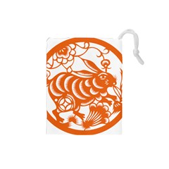 Chinese Zodiac Horoscope Rabbit Star Orange Drawstring Pouches (Small)