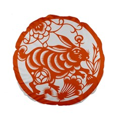 Chinese Zodiac Horoscope Rabbit Star Orange Standard 15  Premium Flano Round Cushions