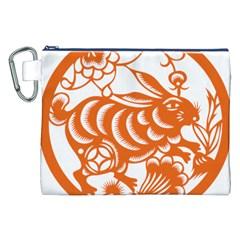 Chinese Zodiac Horoscope Rabbit Star Orange Canvas Cosmetic Bag (XXL)