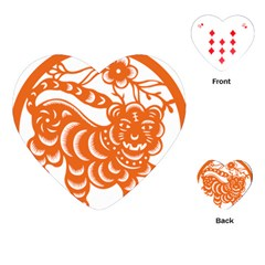 Chinese Zodiac Signs Tiger Star Orangehoroscope Playing Cards (Heart)