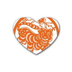 Chinese Zodiac Signs Tiger Star Orangehoroscope Heart Coaster (4 pack)