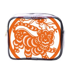 Chinese Zodiac Signs Tiger Star Orangehoroscope Mini Toiletries Bags
