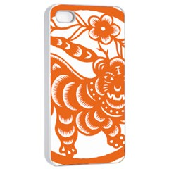 Chinese Zodiac Signs Tiger Star Orangehoroscope Apple iPhone 4/4s Seamless Case (White)