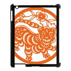 Chinese Zodiac Signs Tiger Star Orangehoroscope Apple iPad 3/4 Case (Black)