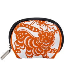 Chinese Zodiac Signs Tiger Star Orangehoroscope Accessory Pouches (Small)