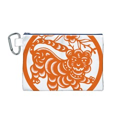 Chinese Zodiac Signs Tiger Star Orangehoroscope Canvas Cosmetic Bag (M)