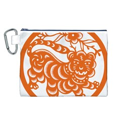 Chinese Zodiac Signs Tiger Star Orangehoroscope Canvas Cosmetic Bag (L)
