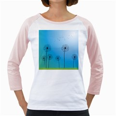 Flower Back Blue Green Sun Fly Girly Raglans