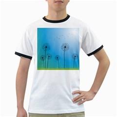 Flower Back Blue Green Sun Fly Ringer T-Shirts