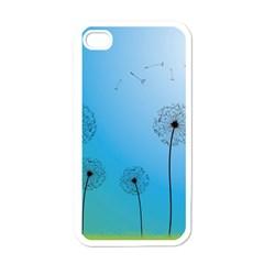 Flower Back Blue Green Sun Fly Apple iPhone 4 Case (White)