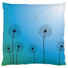 Flower Back Blue Green Sun Fly Large Cushion Case (Two Sides)