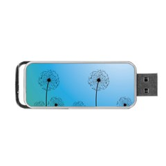 Flower Back Blue Green Sun Fly Portable USB Flash (Two Sides)