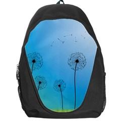 Flower Back Blue Green Sun Fly Backpack Bag