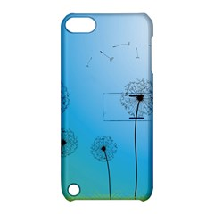Flower Back Blue Green Sun Fly Apple iPod Touch 5 Hardshell Case with Stand