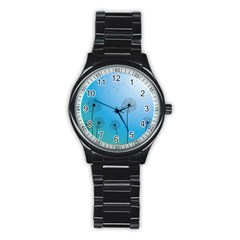 Flower Back Blue Green Sun Fly Stainless Steel Round Watch