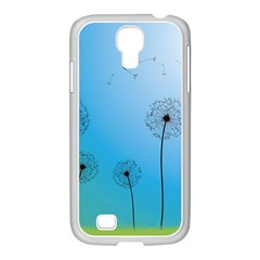Flower Back Blue Green Sun Fly Samsung GALAXY S4 I9500/ I9505 Case (White)