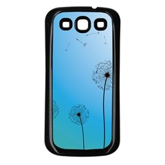 Flower Back Blue Green Sun Fly Samsung Galaxy S3 Back Case (Black)