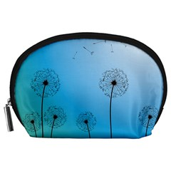 Flower Back Blue Green Sun Fly Accessory Pouches (Large)