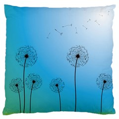 Flower Back Blue Green Sun Fly Large Flano Cushion Case (Two Sides)