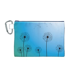 Flower Back Blue Green Sun Fly Canvas Cosmetic Bag (M)