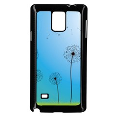 Flower Back Blue Green Sun Fly Samsung Galaxy Note 4 Case (Black)