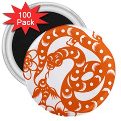 Chinese Zodiac Horoscope Snake Star Orange 3  Magnets (100 pack)