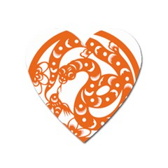 Chinese Zodiac Horoscope Snake Star Orange Heart Magnet