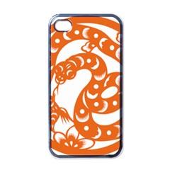 Chinese Zodiac Horoscope Snake Star Orange Apple iPhone 4 Case (Black)
