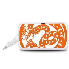Chinese Zodiac Horoscope Snake Star Orange Portable Speaker (White)