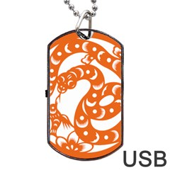 Chinese Zodiac Horoscope Snake Star Orange Dog Tag USB Flash (Two Sides)