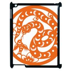 Chinese Zodiac Horoscope Snake Star Orange Apple iPad 2 Case (Black)