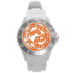 Chinese Zodiac Horoscope Snake Star Orange Round Plastic Sport Watch (L)