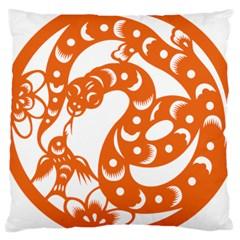 Chinese Zodiac Horoscope Snake Star Orange Large Cushion Case (One Side)