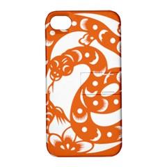 Chinese Zodiac Horoscope Snake Star Orange Apple iPhone 4/4S Hardshell Case with Stand