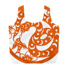Chinese Zodiac Horoscope Snake Star Orange Full Print Recycle Bags (L)