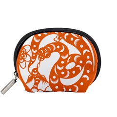 Chinese Zodiac Horoscope Snake Star Orange Accessory Pouches (Small)