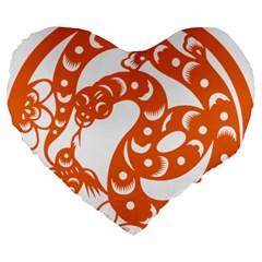 Chinese Zodiac Horoscope Snake Star Orange Large 19  Premium Flano Heart Shape Cushions