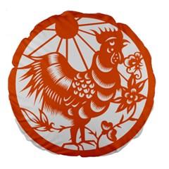 Chinese Zodiac Horoscope Zhen Icon Star Orangechicken Large 18  Premium Flano Round Cushions