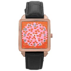 Distance Absence Sea Holes Polka Dot Line Circle Orange Chevron Wave Rose Gold Leather Watch