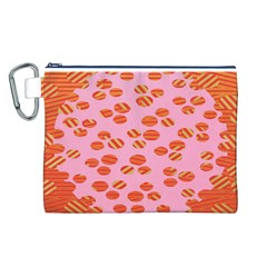 Distance Absence Sea Holes Polka Dot Line Circle Orange Chevron Wave Canvas Cosmetic Bag (L)