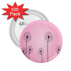Flower Back Pink Sun Fly 2.25  Buttons (100 pack)