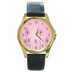 Flower Back Pink Sun Fly Round Gold Metal Watch