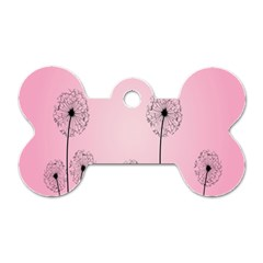 Flower Back Pink Sun Fly Dog Tag Bone (Two Sides)