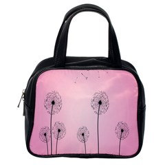 Flower Back Pink Sun Fly Classic Handbags (One Side)