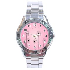 Flower Back Pink Sun Fly Stainless Steel Analogue Watch