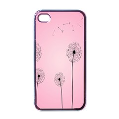 Flower Back Pink Sun Fly Apple iPhone 4 Case (Black)