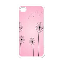 Flower Back Pink Sun Fly Apple iPhone 4 Case (White)